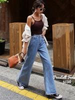เสื้อผ้าแฟชั่นเกาหลีพร้อมส่ง กางเกงยีนเอวสูงแต่งขอบ
