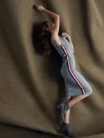 ชุดเดรสเกาหลีพร้อมส่ง Dressเเขนกุดผ้ายืดเพื่อดีเทลด้านข้าง