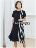 Andra Plain and Striped Asymmetric Black Dress