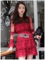 Eva Ruffle Crimson Red Lace Mini Dress