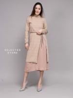 เสื้อผ้าเกาหลีพร้อมส่ง เซทเสื้อไหมพรมคอปีน ตัวยาวผ่าข้างสูง