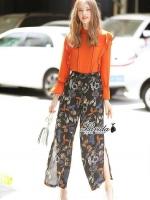 เสื้อผ้าแฟชั่นพร้อมส่ง Orangena long sleeve floral printed chic set