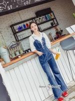 เสื้อผ้าเกาหลีพร้อมส่ง ชุดเซ็ทเสื้อเชิ้ต+เอี๊ยมยีนส์เกาหลี