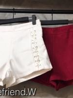 กางเกงขาสั้น ร้อยเชือกถักเปียด้านข้าง