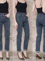 เสื้อผ้าเกาหลีพร้อมส่ง กางเกงยีนส์ขายาว 2 กระดุม