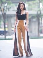 ชุดเซตสายเดี่ยว เสื้อครอป+กางเกงเอวสูง