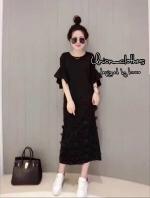 ชุดเดรสเกาหลีพร้อมส่ง Black Dress แขนกระดิ่ง ผ้ายืด เปิดหลัง