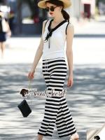 เสื้อผ้าเกาหลีพร้อมส่ง Stripe Bundle Waisty Chic Set