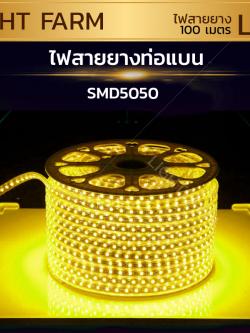 ไฟสายยาง SMD 5050 (100 m.) สีเหลือง (ท่อแบน)