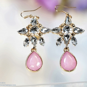 E129008 The Pink with Cyrstal Chandelier ต่างหูระย้า
