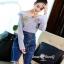 เสื้อผ้าเกาหลีพร้อมส่ง Zara Stripe Shirt With Denim Skirt Set thumbnail 7
