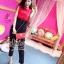 เสื้อผ้าเกาหลี พร้อมส่งเซ็ตเสื้อ+กางเกง ตัวเสื้อแขนกุดสีแดงมาพร้อมกับกางเกงขายาวสีดำเอวสูง thumbnail 2