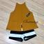 เสื้อผ้าแฟชั่นเกาหลีพร้อมส่ง เสื้อสายเดี่ยวสีเหลืองมาพร้อมกางเกงลายทางขาว-ดำ thumbnail 7