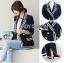 Aria Minimal Chic navy & White Blazer thumbnail 1