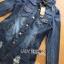 เสื้อผ้าเกาหลีพร้อมส่ง เชิ้ตเดรสผ้าเดนิมตกแต่งคริสตัลและพิมพ์ลายพร้อมเข็มขัด thumbnail 7