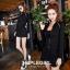 เสื้อผ้าเกาหลีพร้อมส่ง Set 3 ชิ้น เสื้อแขนยาว+ กระโปรงสั้น+เกาะอกสีดำ thumbnail 4
