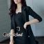เสื้อผ้าเกาหลีพร้อมส่ง Chic Coral Pink&Black Cami Suite Set thumbnail 9