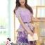 ( พร้อมส่งเสื้อผ้าเกาหลี) เซ็ตเสื้อกระโปรงโทนสีม่วง เนื้อผ้ายืดอย่างดี ตัวเสื้อเป็นผ้าลูกไม้ฉลุรูปดอกไม้ขนาดเล็กรอบคอเสื้อ ไหล่แขน และรอบชายเสื้อ ส่วนตรงกลางเสื้อฉลุด้วยรูปดอกไม้ลายดอกขนาดใหญ่ ชายเสื้อด้านหน้าผ่ารูป V คว่ำ มาพร้อมซับในสีม่วงและเข็มขัดอย่า thumbnail 2