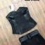 เสื้อผ้าเกาหลีพร้อมส่ง เซ็ตเสื้อเกาะอกสีดำ thumbnail 4