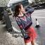 เสื้อผ้าเกาหลีพร้อมส่ง เสื้อไหมพรมแขนยาว จั้มปลายแขน thumbnail 4