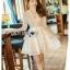 ชุดเดรสเกาหลีพร้อมส่ง เดรสผ้าลูกไม้สีขาวปักมุกตกแต่งระบาย thumbnail 7