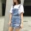 เสื้อผ้าเกาหลีพร้อมส่ง เอี้ยมกระโปรงยีนส์ ดีไซน์เกาหลี thumbnail 1