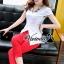 เสื้อผ้าเกาหลี พร้อมส่งCrimson red pants set thumbnail 4