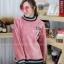 เสื้อผ้าเกาหลีพร้อมส่ง เสื้อกันหนาวตัวยาวทรงคอปีนแขนพอง thumbnail 4