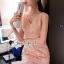ชดเดรสเกาหลีพร้อมส่ง Princess Lace Vee Flora Print Dress thumbnail 4
