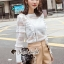 เสื้อผ้าเกาหลีพร้อมส่ง T-Shirt Lace Sweater Circle Pant Set thumbnail 3