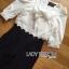 เสื้อผ้าเกาหลี พร้อมส่งจัมป์สูทสามส่วนตกแต่งริบบิ้นกางเกงลายทางสไตล์สมาร์ท thumbnail 9