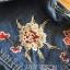 เสื้อผ้าแฟชั่นเกาหลีพร้อมส่ง แจ๊กเก็ตผ้าเดนิมปักลายดอกไม้สไตล์สตรีทชิค thumbnail 7