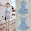 ชุดเดรสเกาหลีพร้อมส่ง Dress ไหมพรมแขนสั้นลายสก้อตสีฟ้าอ่อน thumbnail 4