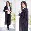 เสื้อผ้าเกาหลีพร้อมส่ง เสื้อคลุมตัวยาวคอปกสีดำลายทาง thumbnail 11