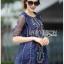 ชุดเดรสเกาหลี พร้อมส่งมินิเดรสผ้าคอตตอนสีน้ำเงินปักลายสไตล์ชนเผ่า thumbnail 7