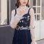 เสื้อผ้าเกาหลีพร้อมส่ง Pinky Flora Stick Cami Denim Dress Set thumbnail 6