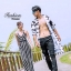 เสื้อผ้าเกาหลีพร้อมส่ง Jumpsuit ลายริ้วสายไขว้ด้านหลัง thumbnail 3
