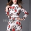 ชุดเดรสเกาหลี พร้อมส่งเดรสผ้าชีฟองพิมพ์ลายดอกกุหลาบสีแดงเนื้อผ้ายับอัดพีท thumbnail 1