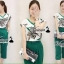 เสื้อผ้าเกาลี พร้อมส่งV blouse flora print greeny set thumbnail 2