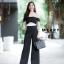 เสื้อผ้าเกาหลีพร้อมส่ง เสื้อเปนเสื้อปาดไหล่ มาพร้อมซิปอย่างดี จับคู่มากับกางเกงขายาวเอวสูงทรงสวย thumbnail 3
