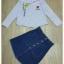 เสื้อผ้าเกาหลีพร้อมส่ง Zara Stripe Shirt With Denim Skirt Set thumbnail 11