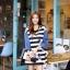 ชุดเดรสเกาหลี พร้อมส่ง Cute Mickey strip attractive Denim Dress thumbnail 2