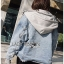Karina Denim Jacket Shearling Hood Coat thumbnail 3