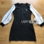 ชุดเดรสเกาหลีพร้อมส่ง เดรสผ้ายืดสีดำตกแต่งแขนซิลค์คอตตอน thumbnail 14