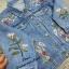 เสื้อผ้าแฟชั่นเกาหลีพร้อมส่ง เสื้อแจ็คเก็ตยีนส์แต่งปักดอกไม้ thumbnail 4