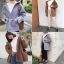 เสื้อผ้าเกาหลีพร้อมส่ง เสื้อคลุมโอเวอร์ไซส์ ขนแกะเทียมมีฮู้ด thumbnail 9