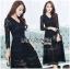 ชุดเดรสเกาหลี พร้อมส่งเดรสผ้าลูกไม้สีดำสไตล์คลาสสิก thumbnail 8