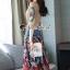 เสื้อผ้าแฟชั่นเกาหลีพร้อม่ส่ง Fashionally Denim-Chiffon Printed Skirt Set thumbnail 2