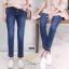 เสื้อผ้าเกาหลีพร้อมส่ง กางเกงยีนส์ทรงกระบอกเล็กผ้ายีนส์ฮ่องกง thumbnail 5