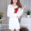 เ้สื้อผ้าเกาหลีพร้อมส่ง จั๊มสูทขาสั้นงานแต่งกุหลาบสวยเลยค่า thumbnail 7